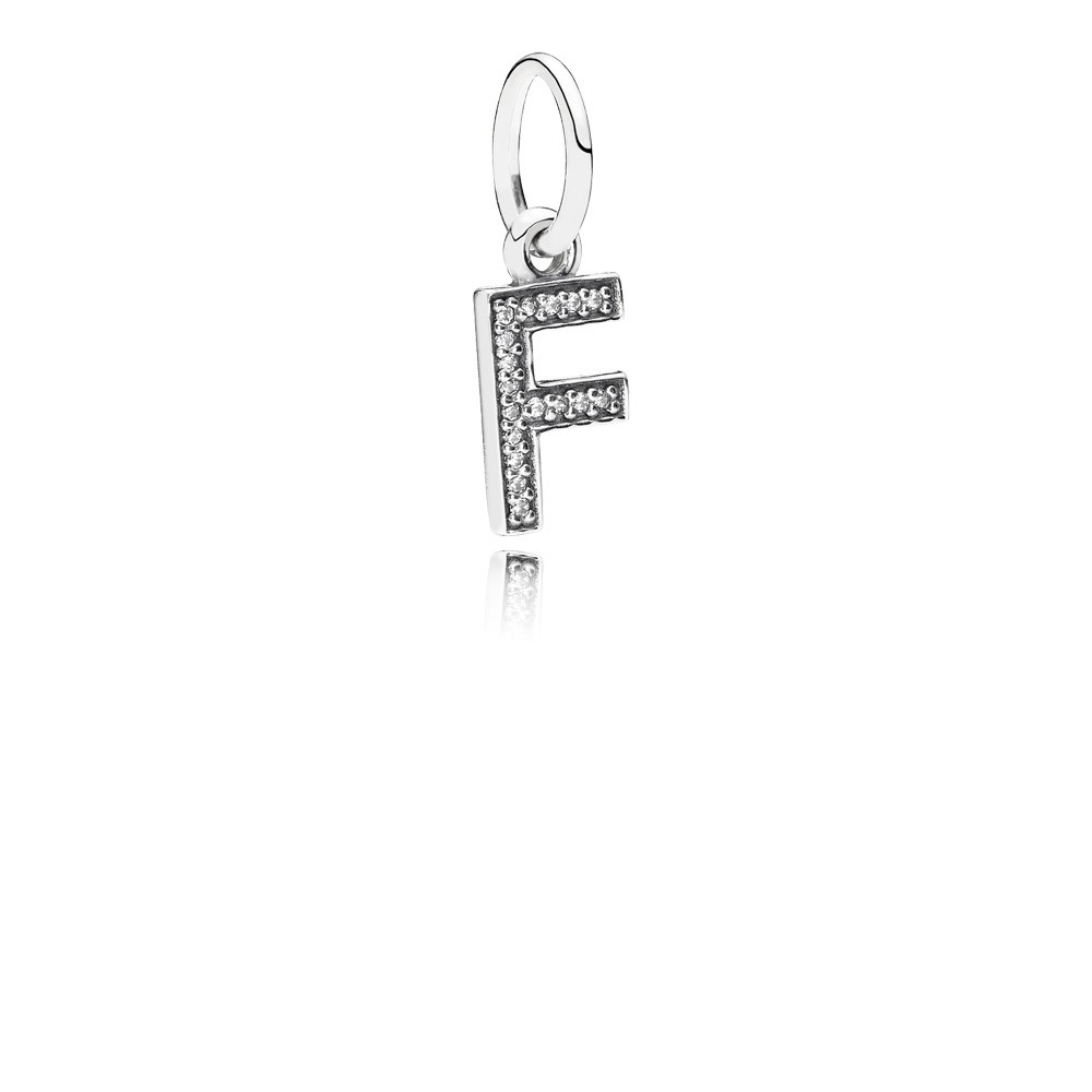 Letter F Silver Dangle With Cubic Zirconia